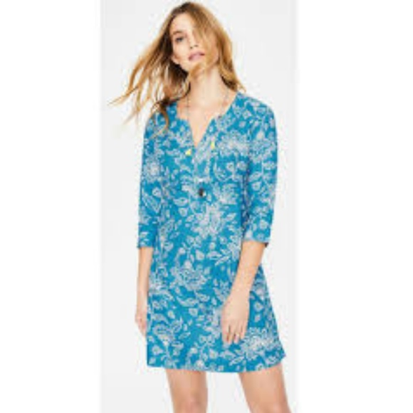 Boden Dresses & Skirts - Boden blue linen tropical print dress 4 long